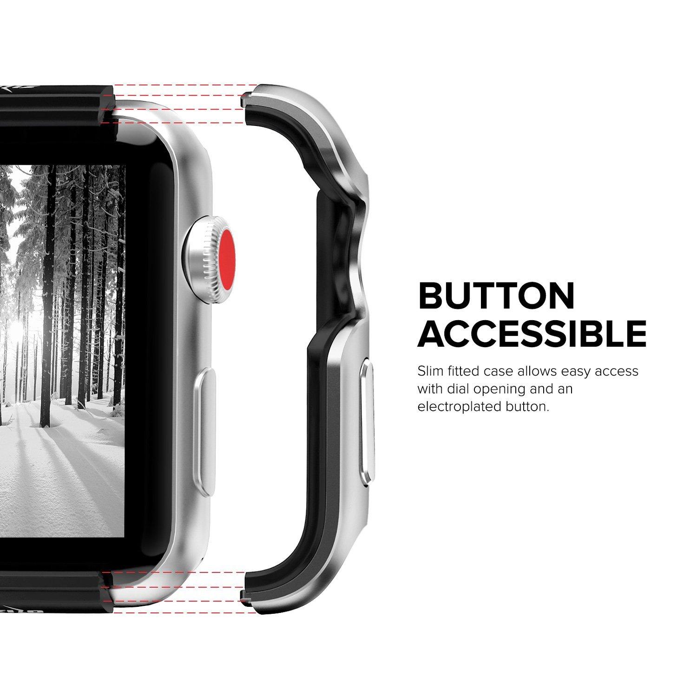 Apple Watch 3 / 2 / 1 ケース (38mm)  【 米国 Zizo 】 米軍MIL規格 810.1-G 耐衝撃 アルミニウム メタル バンパー x TPU ハイブリッド (2層構造)  スリム ケース   【 シルバー / ブラック 】