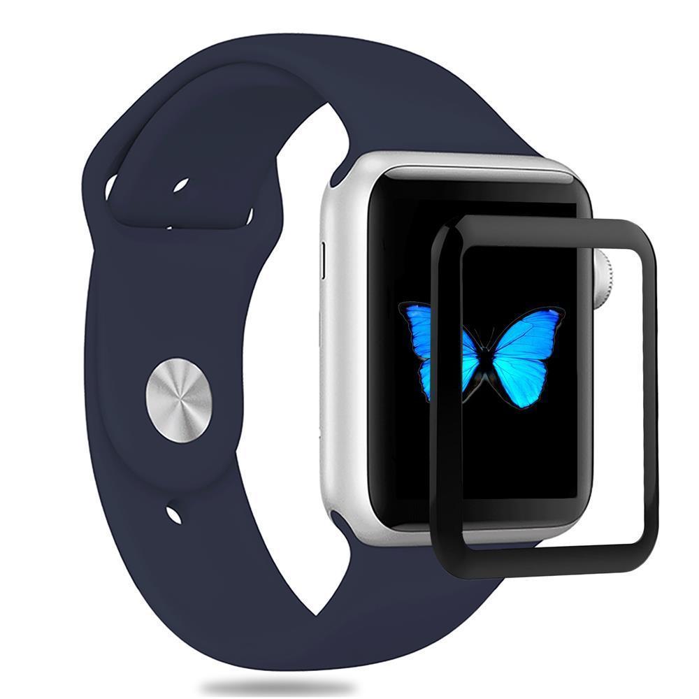 ZIZO Apple Watch 42mm 液晶保護 耐衝撃 強化ガラス 9H硬度 飛散防止 耐衝撃 スクラッチ防止 防指紋 高感度 0.33mm HD画面対応 ラウンドエッジ 簡単装着 気泡レス ガラス フイルム 【 ブラック 】