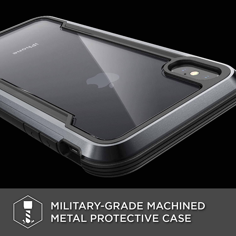 X-Doria iPhone XS Max (2018) ケース DEFENSE SHIELD シリーズ 米軍MIL規格取得 MIL-STD-810G 衝撃吸収 スリム ハイブリッド アルミニウム × TPU × ポリカーボネイト ケース 【 ブラック 】