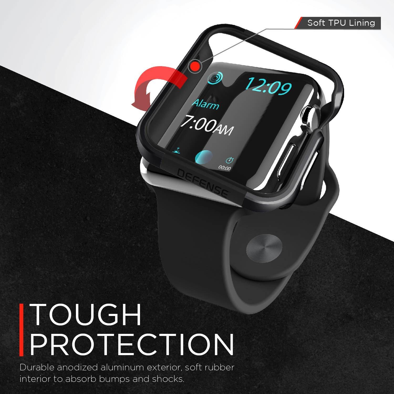 X-Doria Apple Watch 3 / 2 / 1 ケース (42mm) DEFENSE EDGE シリーズ プレミアム アルミニウム x TPU バンパー フレーム ハイブリッド (2層構造)  スリム ケース   【 シルバー 】