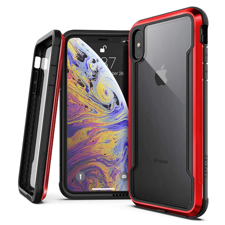 X-Doria iPhone XS / X (2018 & 2017) ケース DEFENSE SHIELD シリーズ 米軍MIL規格取得 MIL-STD-810G 衝撃吸収 スリム ハイブリッド アルミニウム × TPU × ポリカーボネイト ケース 【 レッド 】