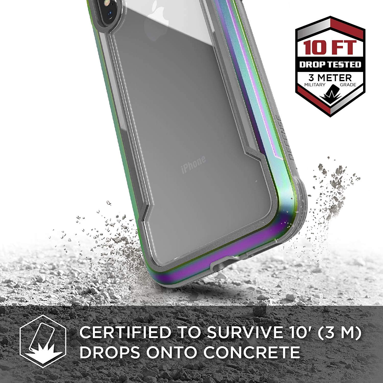 X-Doria iPhone XS / X (2018 & 2017) ケース DEFENSE SHIELD シリーズ 米軍MIL規格取得 MIL-STD-810G 衝撃吸収 スリム ハイブリッド アルミニウム × TPU × ポリカーボネイト ケース 【 イリデセント 】