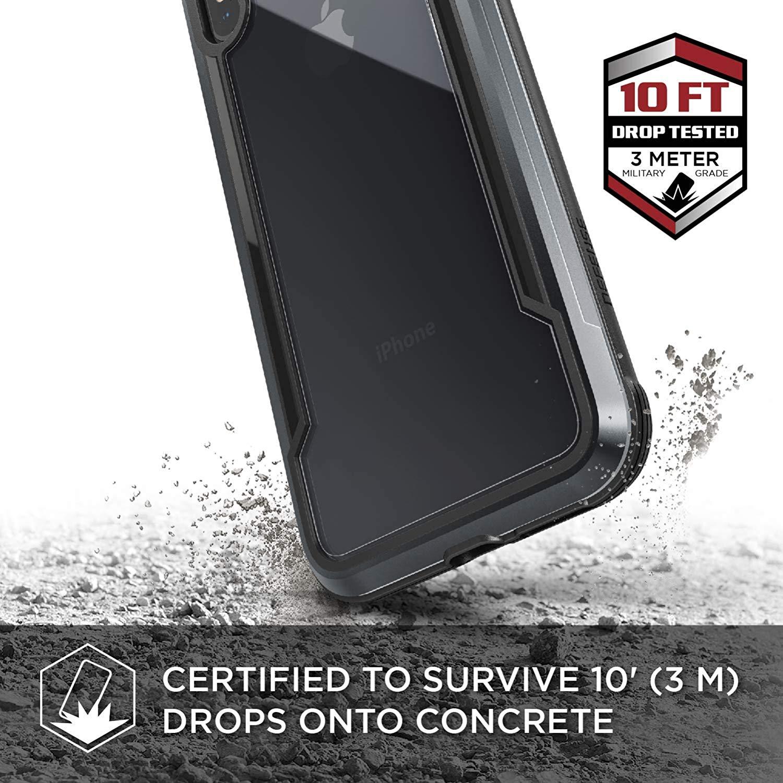 X-Doria iPhone XS / X (2018 & 2017) ケース DEFENSE SHIELD シリーズ 米軍MIL規格取得 MIL-STD-810G 衝撃吸収 スリム ハイブリッド アルミニウム × TPU × ポリカーボネイト ケース 【 ブラック 】