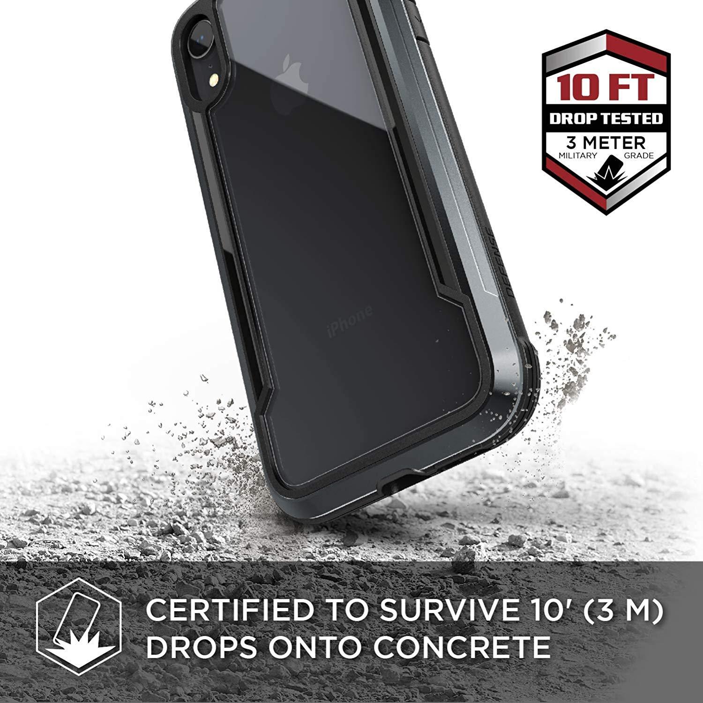 X-Doria iPhone XR (2018) ケース DEFENSE SHIELD シリーズ 米軍MIL規格取得 MIL-STD-810G 衝撃吸収 スリム ハイブリッド アルミニウム × TPU × ポリカーボネイト ケース 【 ブラック 】