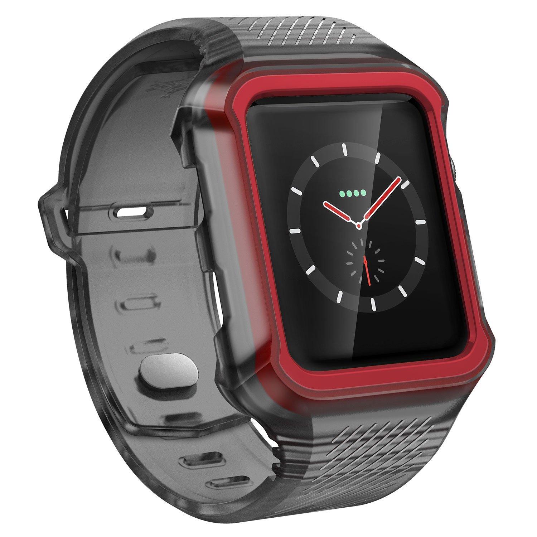 X-Doria Apple Watch 3 / 2 / 1 ケース (42mm)  RUMBLE BAND シリーズ 耐衝撃 耐水  ラギッド スポーティー バンド (ケース・バンド一体型) 【 スモーク 】