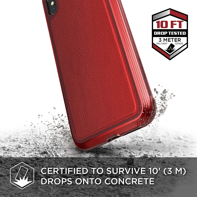X-Doria iPhone XS / X (2018 & 2017) ケース DEFENSE LUX シリーズ 米軍MIL規格取得 MIL-STD-810G 衝撃吸収 スリム ハイブリッド アルミニウム × TPU × ポリカーボネイト ケース 【 レッド・レザー 】