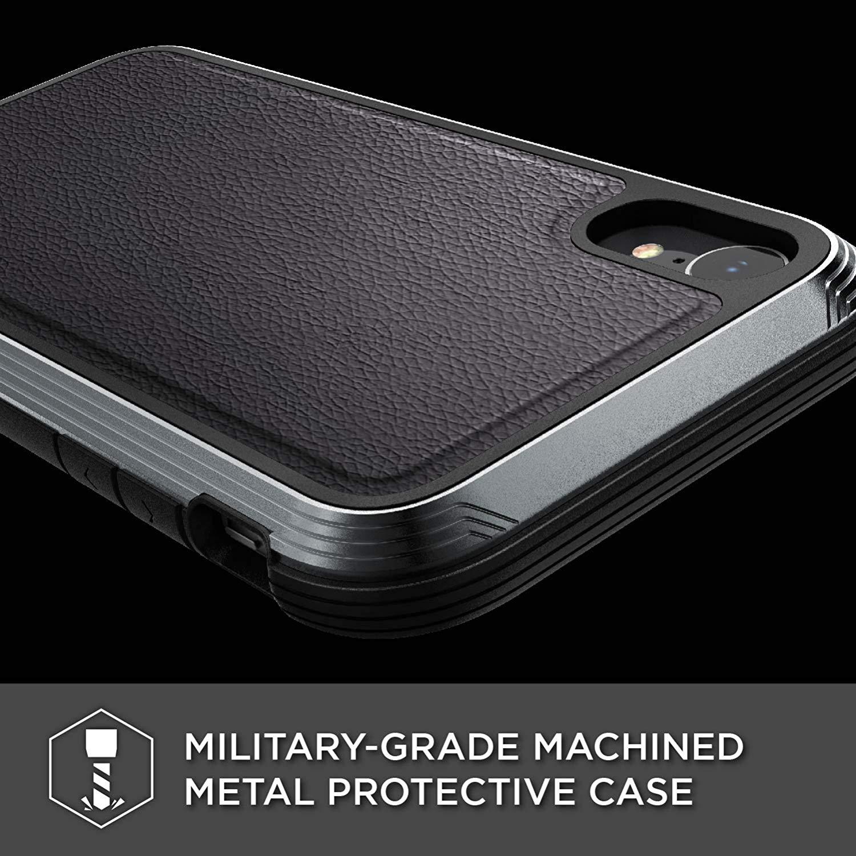 X-Doria iPhone XR (2018) ケース DEFENSE LUX シリーズ 米軍MIL規格取得 MIL-STD-810G 衝撃吸収 スリム ハイブリッド アルミニウム × TPU × ポリカーボネイト ケース 【 ブラック・レザー 】