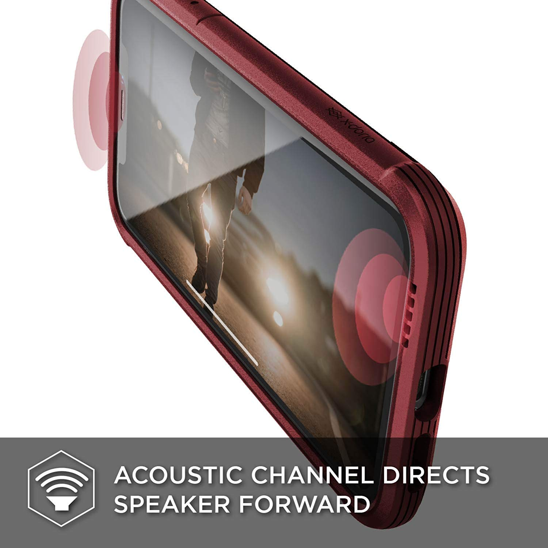X-Doria iPhone XR (2018) ケース DEFENSE LUX シリーズ 米軍MIL規格取得 MIL-STD-810G 衝撃吸収 スリム ハイブリッド アルミニウム × TPU × ポリカーボネイト ケース 【 レッド・レザー 】
