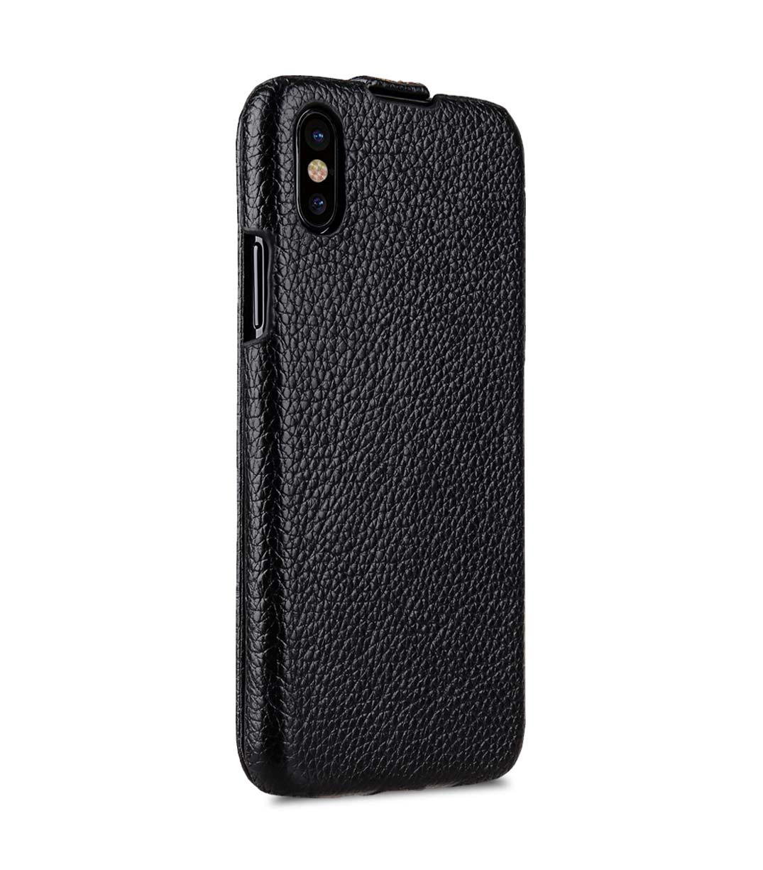 Melkco iPhone X  (2017) レザーケース 本革 プレミアム レザー ハンドメイド フリップタイプ (縦開き) 薄型 軽量【 ブラック LC 】