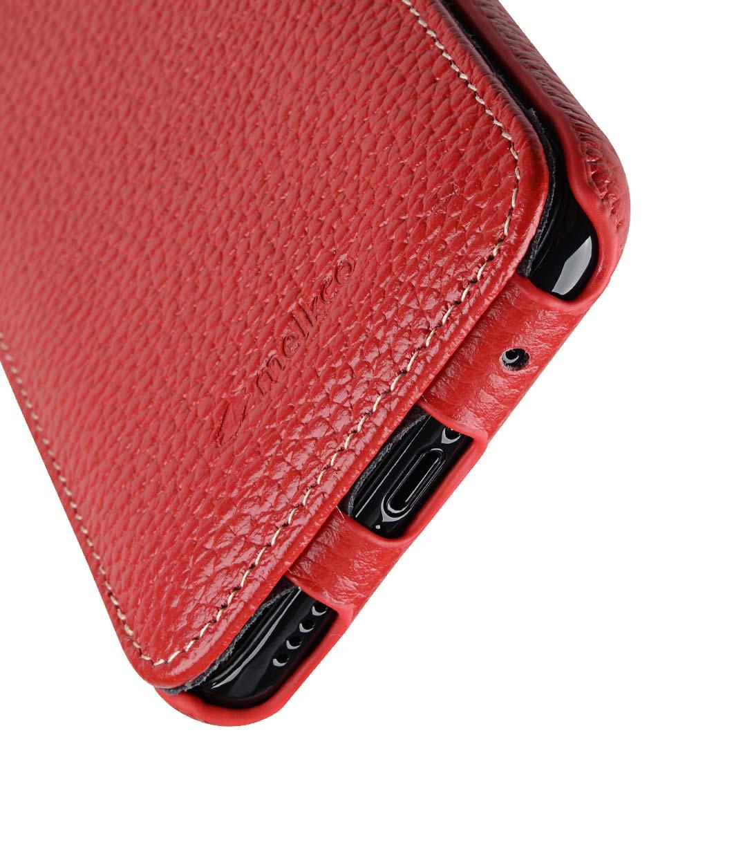 Melkco iPhone X  (2017) レザーケース 本革 プレミアム レザー ハンドメイド フリップタイプ (縦開き) 薄型 軽量【 レッド LC 】