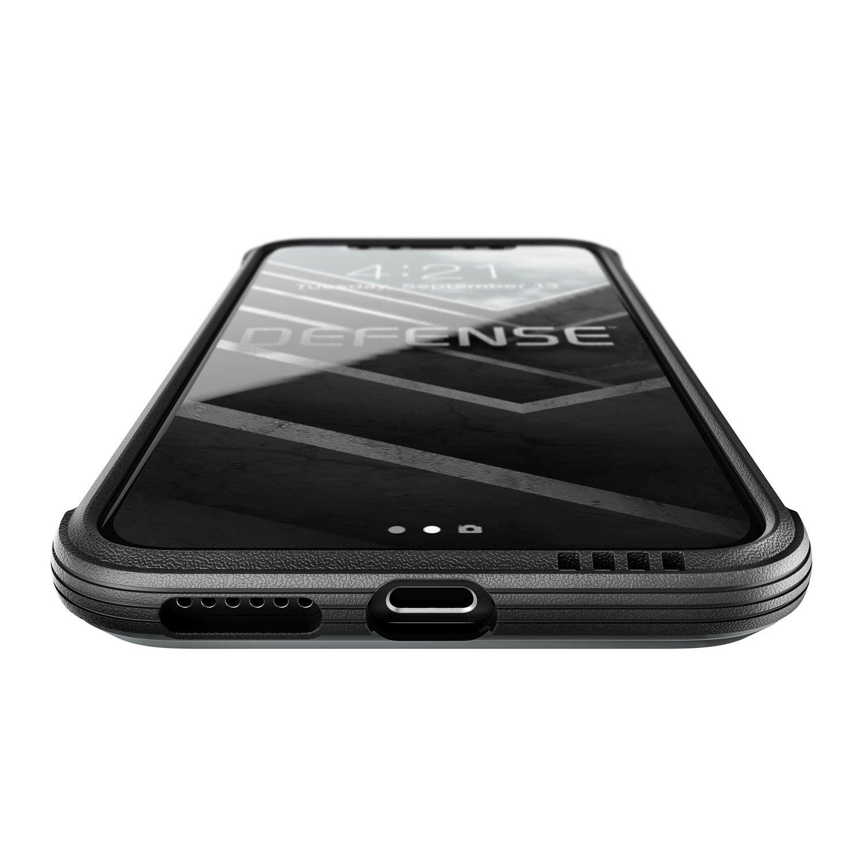 X-Doria iPhone X (2017) ケース DEFENSE LUX シリーズ 米軍MIL規格取得 MIL-STD-810G 衝撃吸収 スリム ハイブリッド アルミニウム × TPU × ポリカーボネイト ケース 【 ブラック・カーボン 】