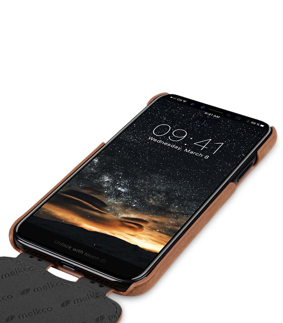 Melkco iPhone X  (2017) ヌバック レザーケース 本革 プレミアム レザー ハンドメイド フリップタイプ (縦開き)薄型 軽量【 クラシック・ビンテージ・ブラウン 】