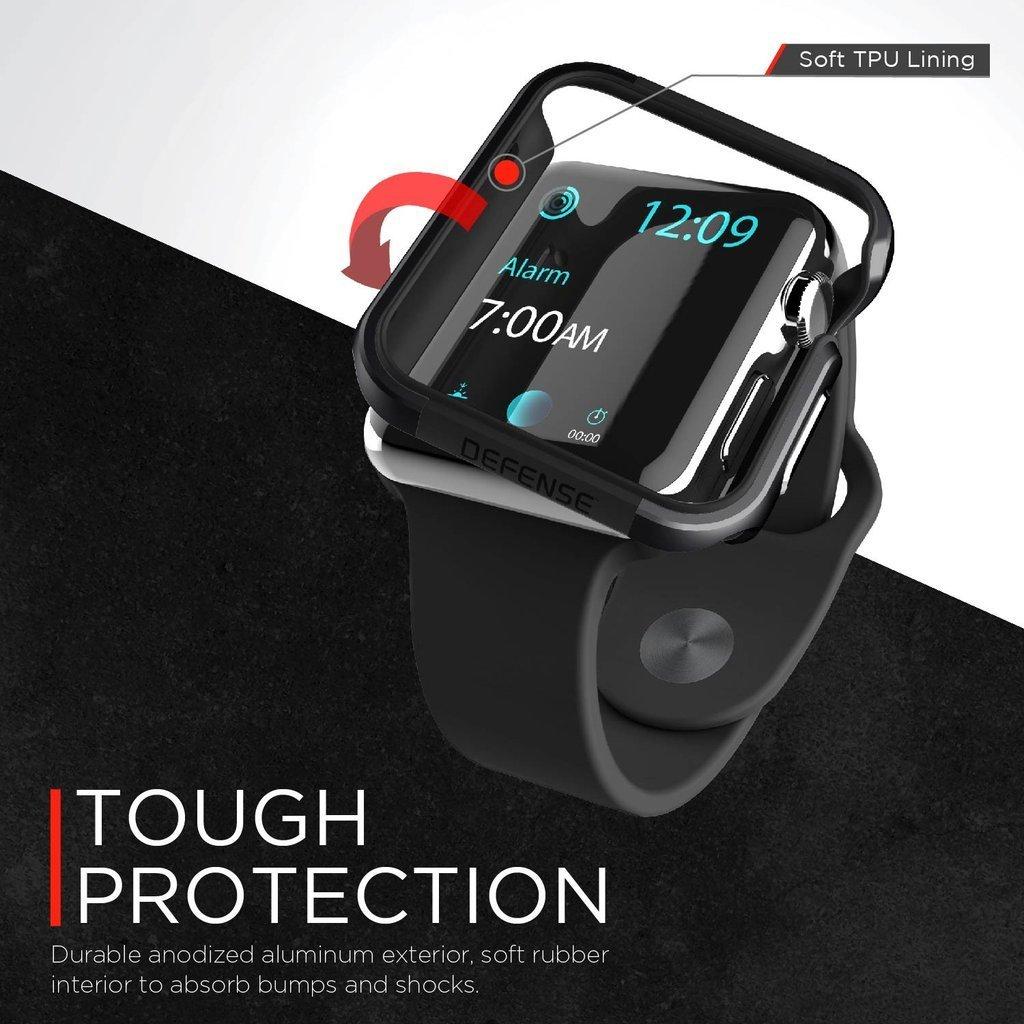 【 X-Doria 】 Apple Watch 44mm ケース Series 5 & Series 4 DEFENSE EDGE シリーズ プレミアム アルミニウム x TPU バンパー フレーム ハイブリッド (2層構造)  スリム ケース   【 チャコール 】