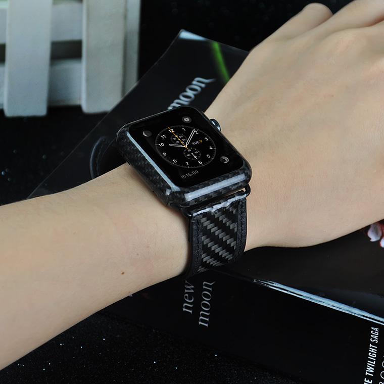 Apple Watch カーボン レザー バンド ( 44mm & 42mm ) 軽量 ラグジュアリー 交換バンド [ ラセス rasesu Inc 日本正規代理店品 ]  【 ブラック 】