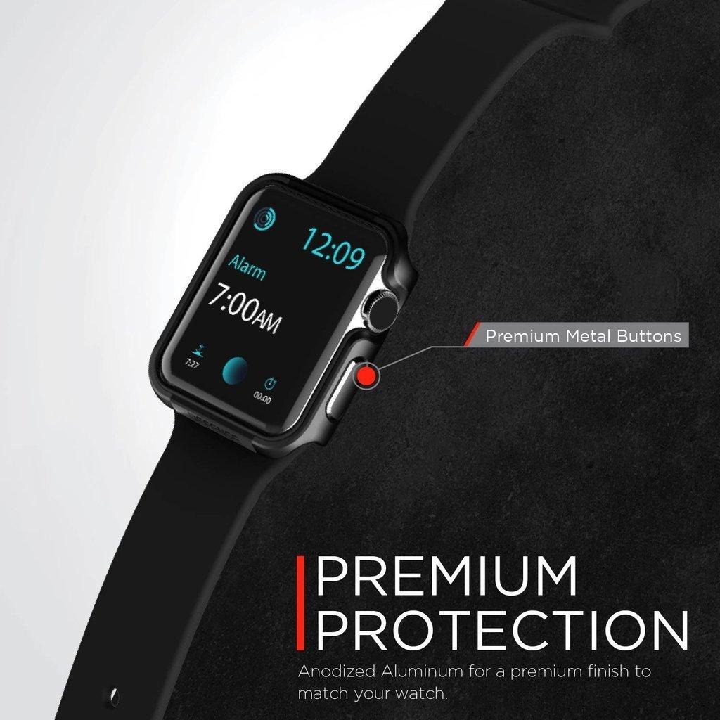 【 X-Doria 】 Apple Watch 40mm ケース Series 5 & Series 4 DEFENSE EDGE シリーズ プレミアム アルミニウム x TPU バンパー フレーム ハイブリッド (2層構造)  スリム ケース   【 チャコール 】