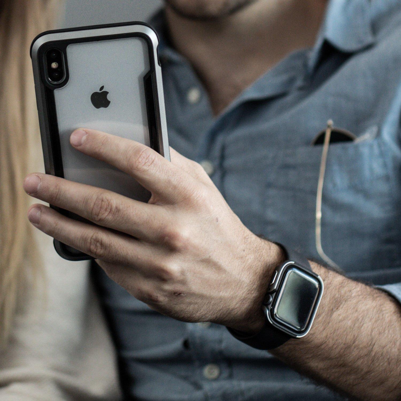 【 X-Doria 】 Apple Watch 40mm ケース Series 5 & Series 4 DEFENSE EDGE シリーズ プレミアム アルミニウム x TPU バンパー フレーム ハイブリッド (2層構造)  スリム ケース   【 ブラック 】