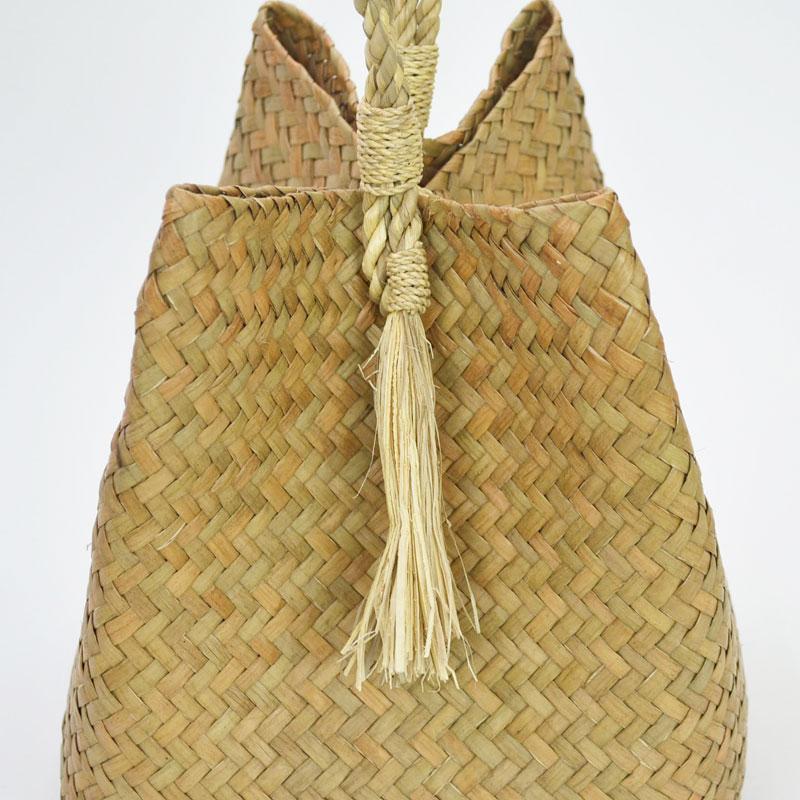 カチュー 一本手 フリンジ かごバッグ 天然素材 水草