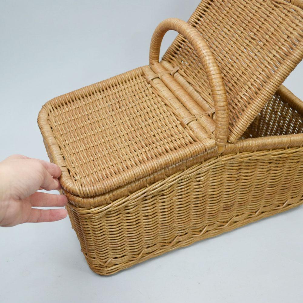 ラタン ピクニックバスケット 籐 かご インドネシア製 インテリア ピクニック キャンプ 運動会 収納 ディスプレイ 高品質 見せる収納 フタ付き 開閉しやすい 持ち手付き シンプル ナチュラル 籐素材