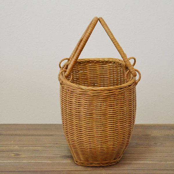 ラタンバスケット 買い物かご-長丸S エコバッグ アウトドアやピクニック しっかりとしたカゴバッグ ショッピングバッグ 籐かご 収納やインテリアにも 籠 カゴ 天然素材 インドネシア製 ディスプレイ おしゃれ
