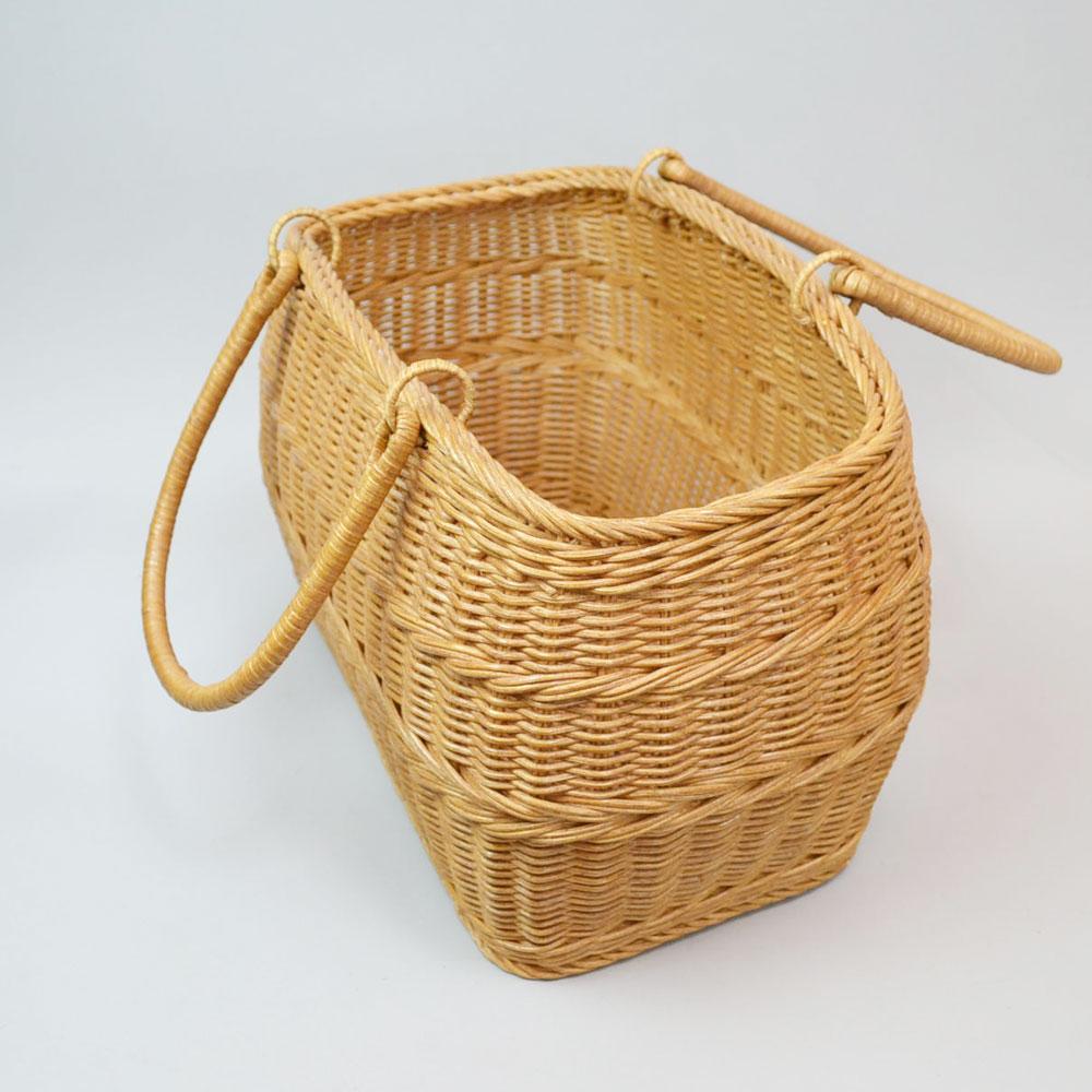高級ラタンバスケット 買い物かご インドネシア製 収納 かご 籐 リビング ディスプレイ シンプル 見せる収納 大容量 バスケット 籠 持ち手つき 丈夫 高級品 おしゃれ デザイン お出かけ 小物