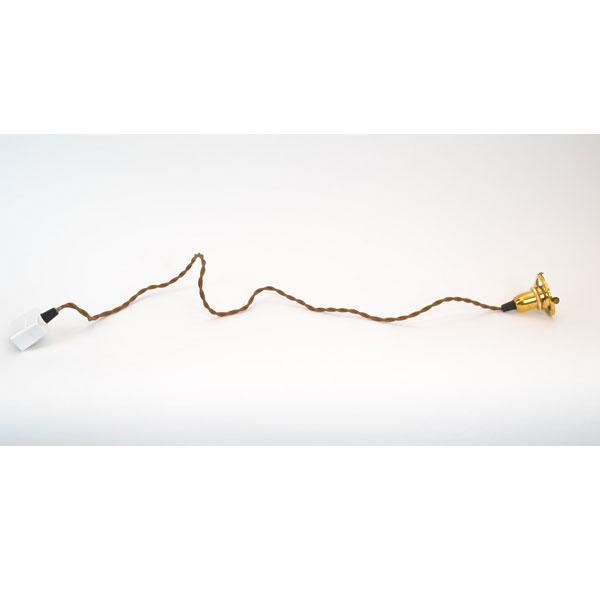 真鍮 灯具 コード長1m ペンダント金具 インテリア 玄関  アンティーク風 照明器具 オシャレ シンプル E17口金 引掛シーリング取付式 ペンダントコード 雰囲気 取付簡単 ゴールド 裸電球 白熱電灯器具 E-17 適合電球60W