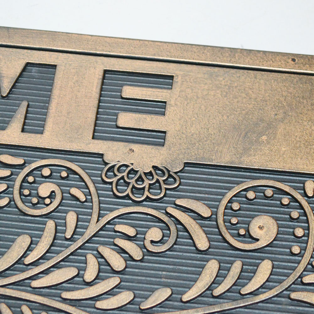 ラバー マット 『 半円 ウェルカム リーフ 』 玄関マット ウェルカム 屋外用 おしゃれなマット 泥除け 汚れ落とし お洒落 ガレージ 店舗 会社の出入り口 犬 welcome ゴム お出迎え シックなデザイン ドアマット ラバーマット