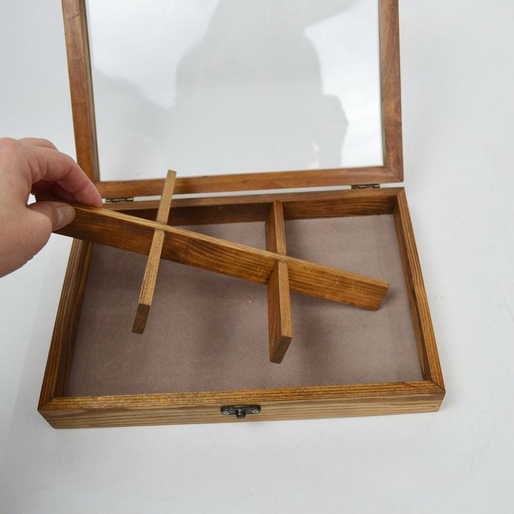 アクセサリーケース S 6マス アンティーク風 コレクションケース 時計 アクセサリー 小物 おしゃれ収納 コレクションボックス 見せる収納 レトロ 小物入れ ウッド 木製 間仕切り 底面 ベロア生地 ふた ガラス レトロ 風合い 格子