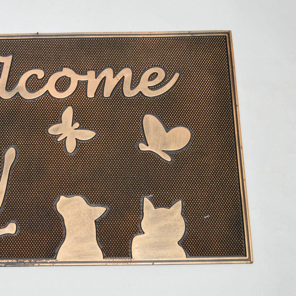 ラバー マット 『 ウェルカムキティー 』 玄関マット ウェルカム 屋外用 おしゃれなマット 泥除け 汚れ落とし お洒落 ガレージ 店舗 会社の出入り口 welcome ゴム お出迎え シックなデザイン ドアマット ラバーマット 猫 ネコ
