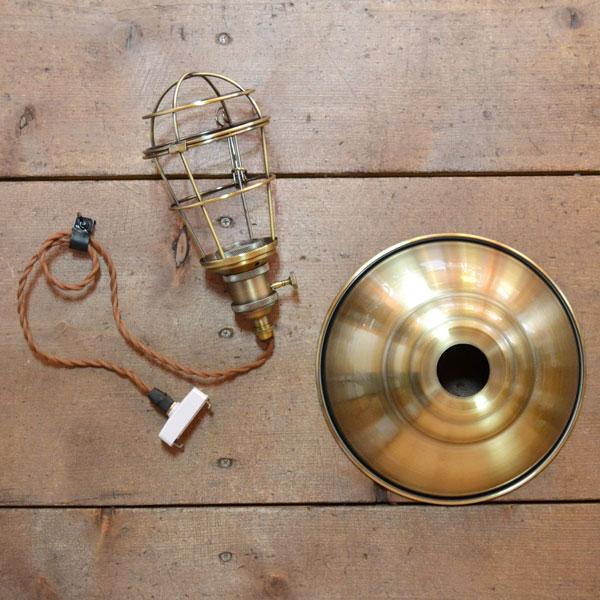 アイアンライト 銅メッキ ガード 9インチ アルミ製古仕上げ灯具付 ペンダント アンティーク風 北欧 カントリー調 照明器具 シェード レトロ LED