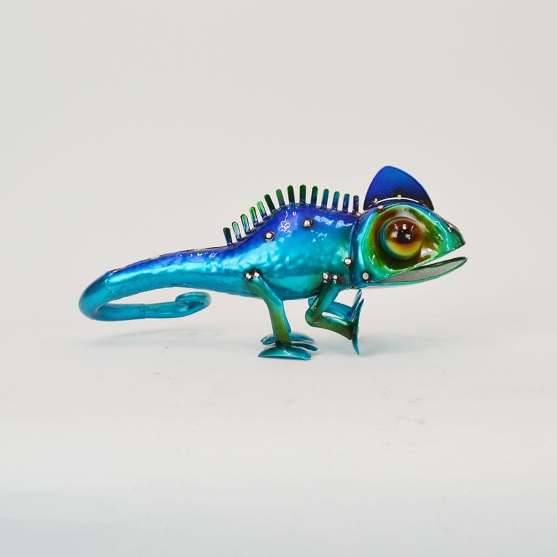 カラフルブリキ カメレオン トカゲ 青 ブルー 爬虫類 鉄