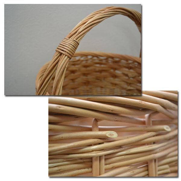 ウィッカー ラウンドバスケット Lサイズ ディスプレイ プレゼントに ピクニックバスケット 小物入れやソーイングケースとして 結婚式のかご パーティー用バスケット  持ち手付 軽い 柳 可愛い 小物収納 ナチュラル バケット入れ 収納