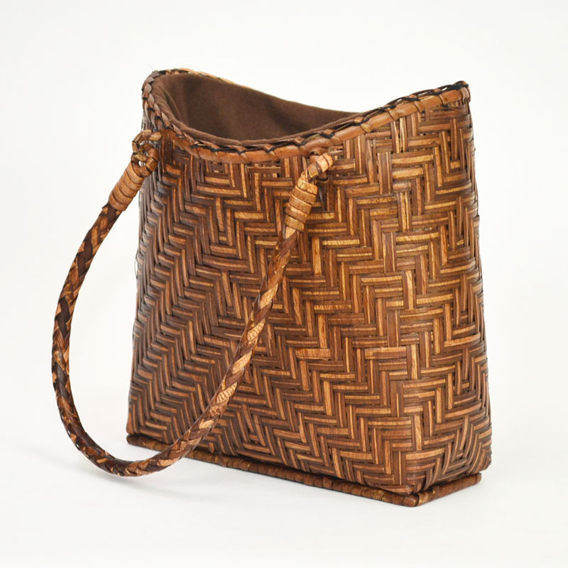 竹かご かごバッグ 巾着付 バンブー ハンドバッグ おしゃれ