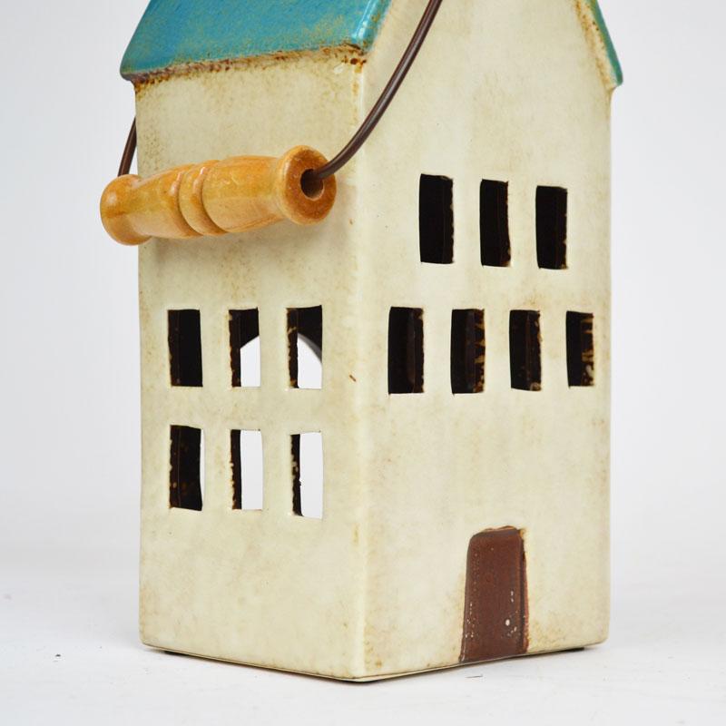 キャンドルハウス 陶器 キャンドルホルダー 取手付き ブルー