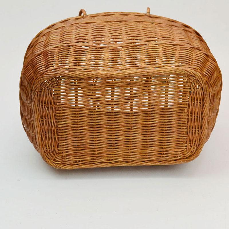 ラタン かごバッグ 籐 ピクニックバスケット 大きめ ビッグ