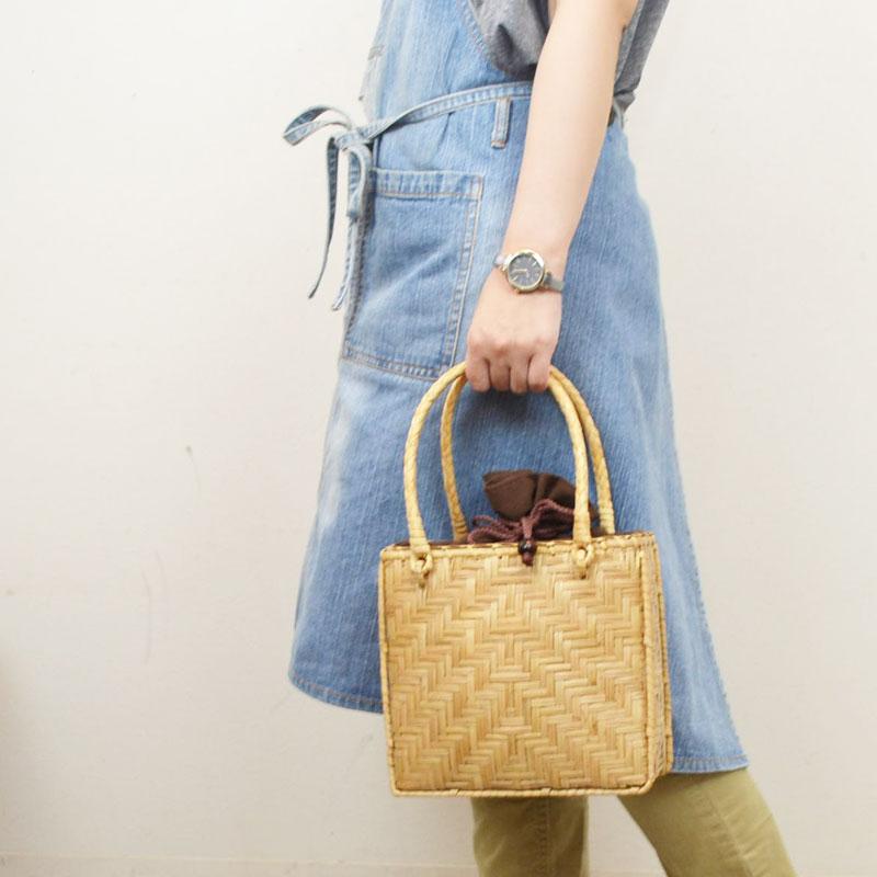竹かご かごバッグ 角型 巾着付 バンブー ハンドバッグ