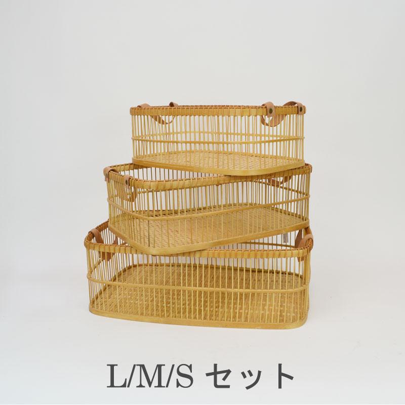 竹製脱衣かご 3セット ランドリーバスケット バンブー