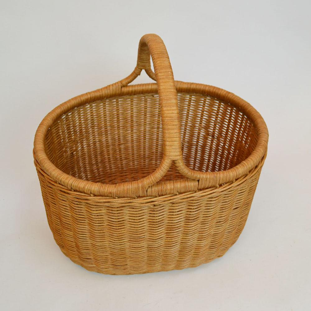 ラタンバスケット深型 オーバル 籐かご ピクニックバスケット