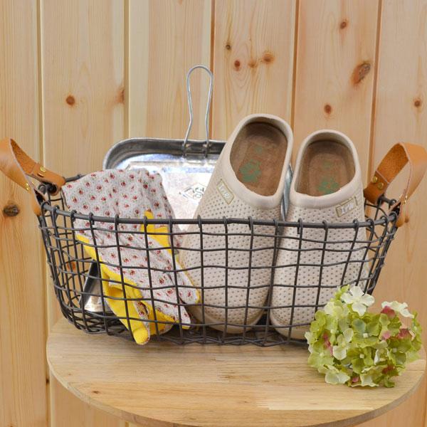 ワイヤーバスケット オーバル型 収納 ガーデニング かご シンプル アンティーク風 鉢カバー ガーデン インテリア おしゃれ 雑貨