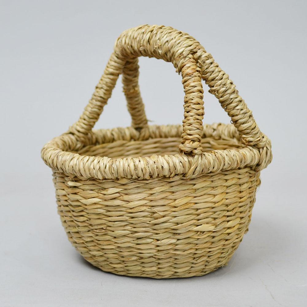 シーグラス 小さなかご 1本手 ミニ バスケット ナチュラル まぁるい収納かご 天然素材 ギフト用のかご 小物入れ 小さくて可愛い 玄関 リビング お菓子入れ 造花を飾って シンプル ディスプレイ インテリア 収納