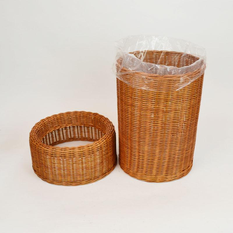 ラタン製ダストボックス おしゃれな籐製品 スリムに収納 袋