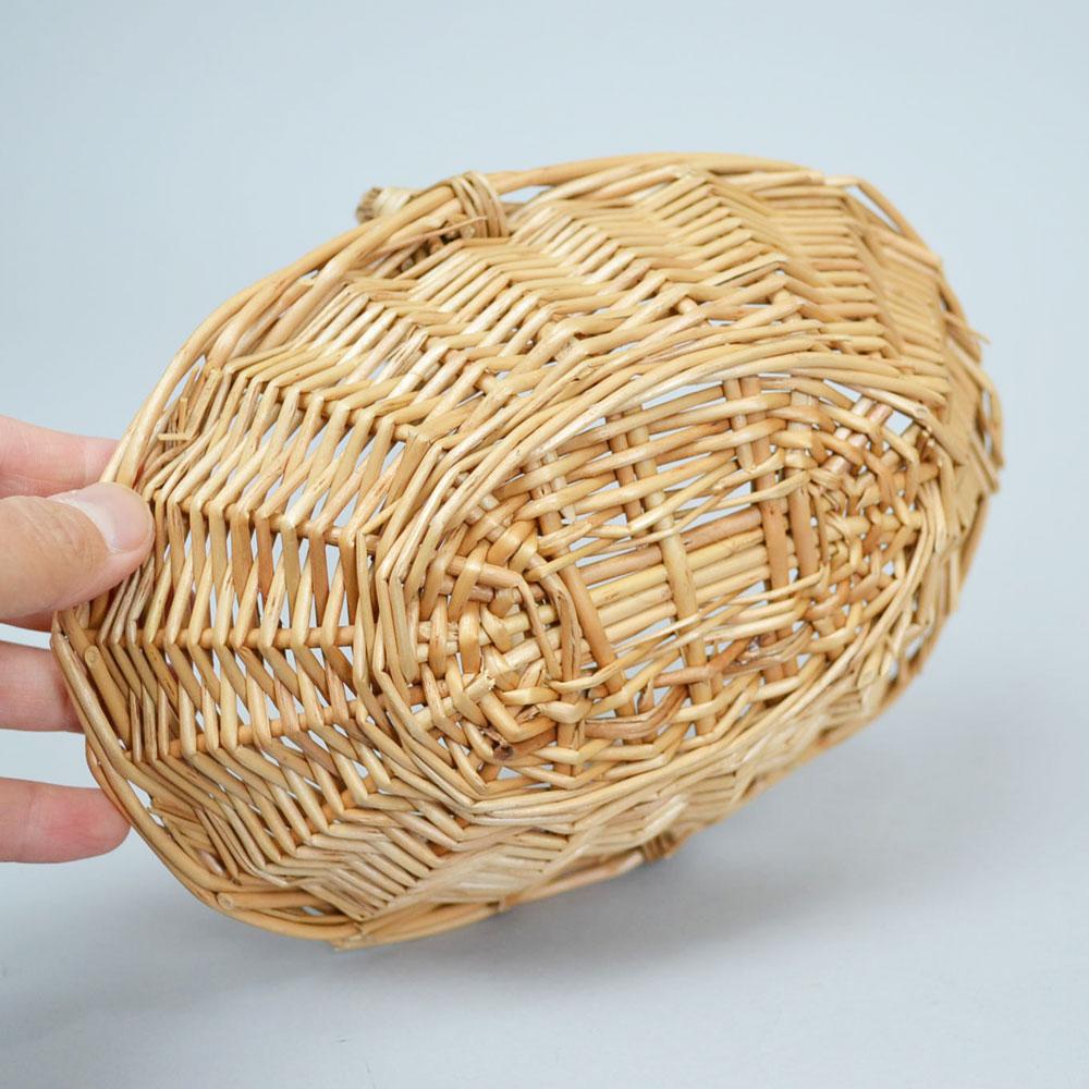 小さな ウィッカーバスケット 持ち手付き ミニ ナチュラル かご 小物収納 シンプル 素朴 リビング 玄関 ギフト資材 見せる収納 お菓子入れ 可愛い おしゃれ 北欧 カゴ 柳 オーバル 小さなかご プレゼント バスケット 造花