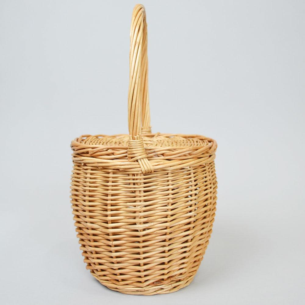 ウィッカーバスケット Sサイズ フタ付き 持ち手付き ナチュラル かご お出かけ おしゃれ かわいい ピクニック フタが持ち手に固定 レディース 中身が見えない インテリア 収納 シンプル 小物入れ 柳 アレンジ 収納バスケット