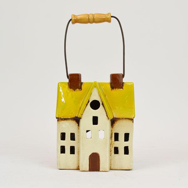キャンドルハウス 陶器 キャンドルホルダー イエロー L2