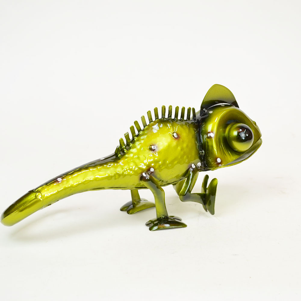 カラフルブリキ カメレオン グリーン トカゲ 置物 爬虫類
