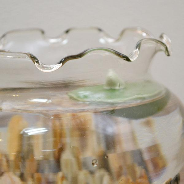 フリル金魚鉢 大 ガラス製  涼しげな きんぎょ鉢 メダカ鉢 涼しげに 昔ながらの水槽 水鉢・小魚・水槽 涼風 アクアリウム エアープランツ おしゃれな 大きめサイズ