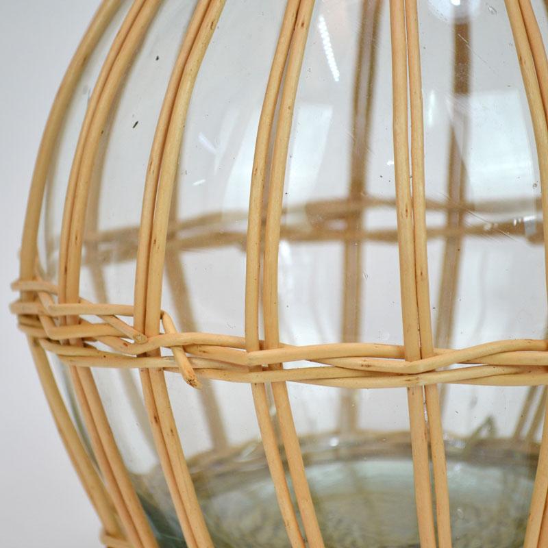 ウィローガラスベース ボトルインバスケット ポット フラワー