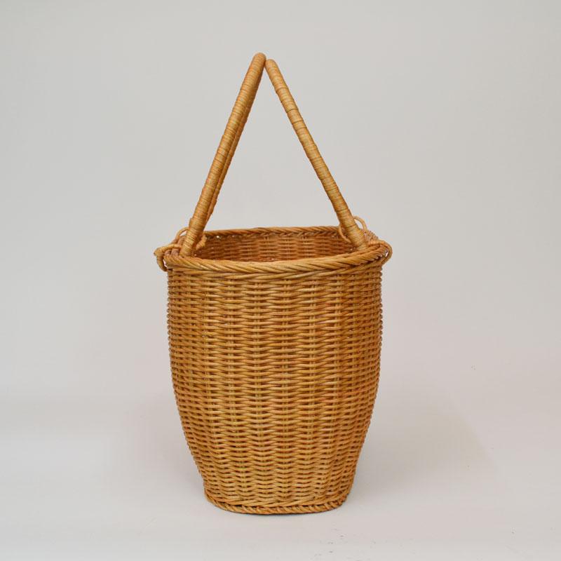 ラタンバスケット 買い物かご-長丸 エコバッグやお出掛けにしっかりとしたカゴバッグ ショッピングバッグ 籐かご 収納 籠 お買物カゴ かご  rat