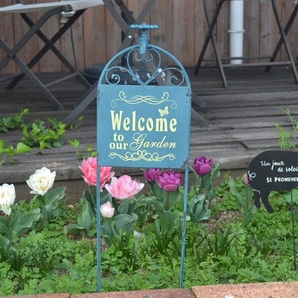 ガーデン アイアンピック ブルー Welcome ガーデニング 雑貨 アンティーク風 蛇口 庭 花壇 玄関 お庭 ジャンク お出迎え おしゃれ ガーデンのポイントに mu