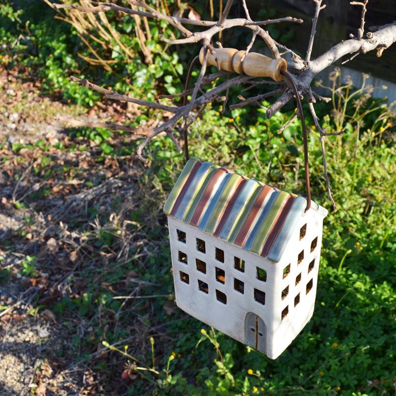 キャンドルハウス 陶器 キャンドルホルダー 取手付き J1