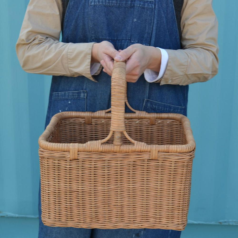 ラタンバスケット深型 スクエア 籐かご ピクニックバスケット